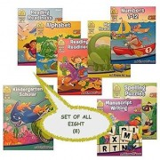 8 School Zone Workbooks bundle set (K-1st Grade Alphabet Math Numbers Reading Books 1 & 2 Kindergarden Scholar Book K-2nd Grade Manuscript Writing 1st Grade Spelling Puzzles)