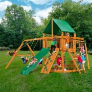Gorilla Playsets Navigator with Amber Posts and Canopy Cedar Swing Set 01-0020-AP