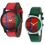 Danzen Analog Leather Watches for Lovely Couple -dz-422-433