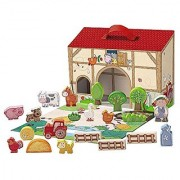 HABA Farming Around - Portable Wooden Farm House with 22 Wooden Pieces for 18 Months and Up