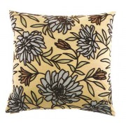 "24"" x 24"" montague aqua floral pattern throw pillow with a feather/down insert and zippered removable cover"