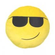 Soft Smiley Emoticon Yellow Round Cushion Pillow Stuffed Plush Toy Doll (Smart)