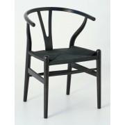 Replica Hans Wegner Wishbone Chair - Black Frame (grain visible) Black seat - Ash Timber