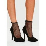 Missguided Black Fishnet Pointed Court Shoes, Black