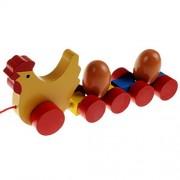 Koly® Cochería de camiones del niño en las ruedas con huevo de madera - Early Juguetes educativos