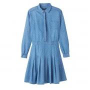 PEPE JEANS Plissee-Kleid, uni, kurze Form, lange Ärmel