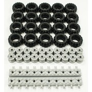 New Lego 37 X 18 Tire, Wheel And Brick Axles Bulk Lot 60 Pieces Total