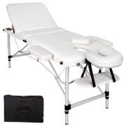 TecTake 3-zons massagebänk aluminium 5 cm stoppning + väska vit av TecTake