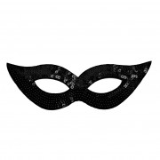 Black Sequined Masquerade Mask With Cat Eyes