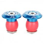 JCSP S-117 tapones de aluminio del manillar de la bici - azul + rojo (2PCS)