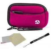 Magenta Black Trim Slim Protective Soft Neoprene Cover Carrying Case Sleeve With Extra Pocket For Nikon Coopix L24 P300 S70 S80 S100 S1100pj S1200pj Point And Shoot Digital Camera + Includes A Anti Glare Screen Protector, Will Protect From Any Small Scrat