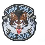 LONE WOLF NO CLUB Hog Rockers Racer Chopper Outlaw Biker Iron On Sew On Patch3.6 /9.4cm x 3.5 /8.8cm By MNC Shop