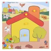 Skillofun Wooden Theme Puzzle Standard Hut Knobs, Multi Color