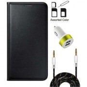 Lava A79 Flip cover (BLACK) With Noosy Sim Adapter + 2 Port USB Car Adapter + 3.5 Aux Audio Cable- 1 Meter(colour may vary)