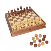 WE Games Russian Style Chess & Checkers Game Set - Weighted Chessmen & Wood Board with Storage Drawe