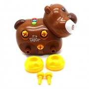 Ver-Baby Childrens Kids Walk Along Musical Bear On Wheels Pull Toy Playset That's Ready for Playtime Build and...