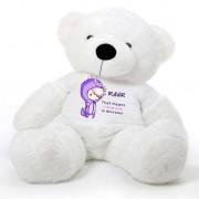 White 5 feet Big Teddy Bear wearing a Purple RAWR I Love You T-shirt