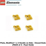 Lego Parts: Plate Modified 1 x 2 with Handle on Side - Closed Ends (PACK of 4 - Pearl Gold)