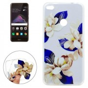 For Huawei P8 Lite (2017) Blue and White Flower Pattern Soft TPU Protective Case