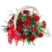 Little Love from Red Roses in cane Basket