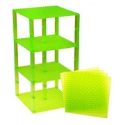"""Premium Clear Light Green Stackable Base Plates - 4 Pack 6"""" x 6"""" Baseplate Bundle with 30 Clear Light Green Bonus Building Bricks (LEGO Compatible) - Tower Construction"""