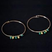 Earring Gold Plated Jewelry Semi Green Yellow Polka Dot
