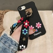 For iPhone 6 Plus & 6s Plus Rivet Flower Pattern Silicone Full Coverage Soft Protective Back Cover Case with Wrist Band(Black)