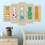 Декоративен панел за стена с разноцветни котки Vivid Home