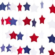 Bobee Red White Blue Star Streamers Patriotic 4th of July Decorations (2 strands for 28 feet)