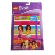 Lego Friends Striped Journal & Sticker Set Featuring Olivia & Andrea Silhouette Cover