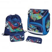 Ghiozdan ergonomic echipat (sac sport, necessaire, penar 17 piese) dimensiune 36x38x22 cm motiv Sporti Plus Splash