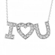 I Love You Diamond Heart Pendant Necklace in 14k White Gold (1/2 ct)