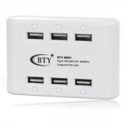 BTY M-561 de 6 puertos USB de Super Quick Charger - White (enchufe de EE.UU.)
