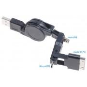 OEM 3-in-1 USB Retractable ladd/Sync kabel (Svart)
