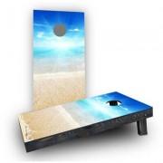 "Custom Cornhole Boards Sunny Day at the Beach Cornhole Game CCB296 Bag Fill: Whole Kernel Corn, Size: 48"""" H x 12"""" W"