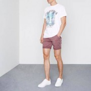 River Island Berry red rolled hem chino shorts
