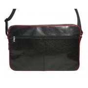 Skórzna torba na ramię z wyjmowaną kieszenią na laptopa - czarna z czerwoną lamówką