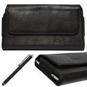 DMG Leather Pouch Belt Clip Holster Case for Nokia C5-03 (Black) + Stylus