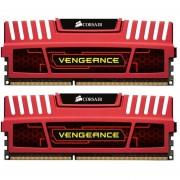 Memorias Ram DDR3 Corsair Vengeance 1600 MHz 8 GB PC3-12800 Kit 2x4 (CMZ8GX3M2A1600C9R) - Rojo