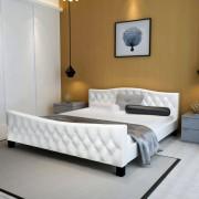 "vidaXL ""Luksusowe białe łóżko ze sztucznej skóry + materac 180x200 cm"""