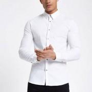 River Island White poplin long sleeve muscle fit shirt