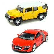 Playking Kinsmart Combo of Toyota FJ Cruiser and Audi R8 5'' Die Cast Metal Doors Openable and Pull Back Action Car