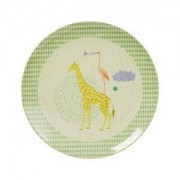 Rice Kids Bamboo Melamine Lunch Plate w. Boys Animal Print Tallrikar