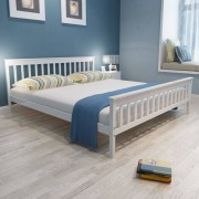 """vidaXL """"Sosnowe, białe łóżko z Materacem Memory Foam 200 x 180 cm"""""""