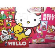 Hello Kitty Wooden Jigsaw Puzzle Set (5 Puzzles, Building Tray, and Storage Box)