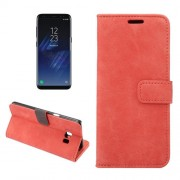 For Samsung Galaxy S8 Sheep Bar Material Horizontal Flip Leather Case with Holder & Card Slots & Wallet & Photo Frame (Red)
