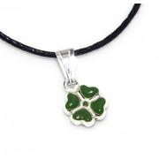 Ciondolo Argento 925 : quadrifoglio verde amuleto portafortuna