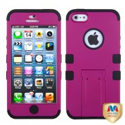 Protector Iphone 5 Rosa Con Negro Mixto Doble c / Pie