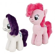 My Little Pony - Pack 2 Peluches Pinkie Pie & Rarity Chunky 22cm - Calidad Super Soft (rosa+blanco)