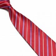 """Red/Blue/Silver Pattern Striped Microfibre Tie"""